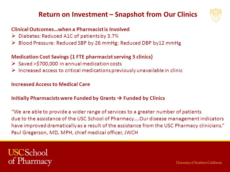 Return on Investment – Snapshot from Our Clinics Clinical Outcomes…when a Pharmacist is Involved Diabetes: Reduced A1C of patients by 3.7% Blood Pressure: Reduced SBP by 26 mmHg; Reduced DBP by12 mmHg Medication Cost Savings (1 FTE pharmacist serving 3 clinics) Saved >$700,000 in annual medication costs Increased access to critical medications previously unavailable in clinic Increased Access to Medical Care Initially Pharmacists were Funded by Grants Funded by Clinics We are able to provide a wider range of services to a greater number of patients due to the assistance of the USC School of Pharmacy….Our disease management indicators have improved dramatically as a result of the assistance from the USC Pharmacy clinicians.