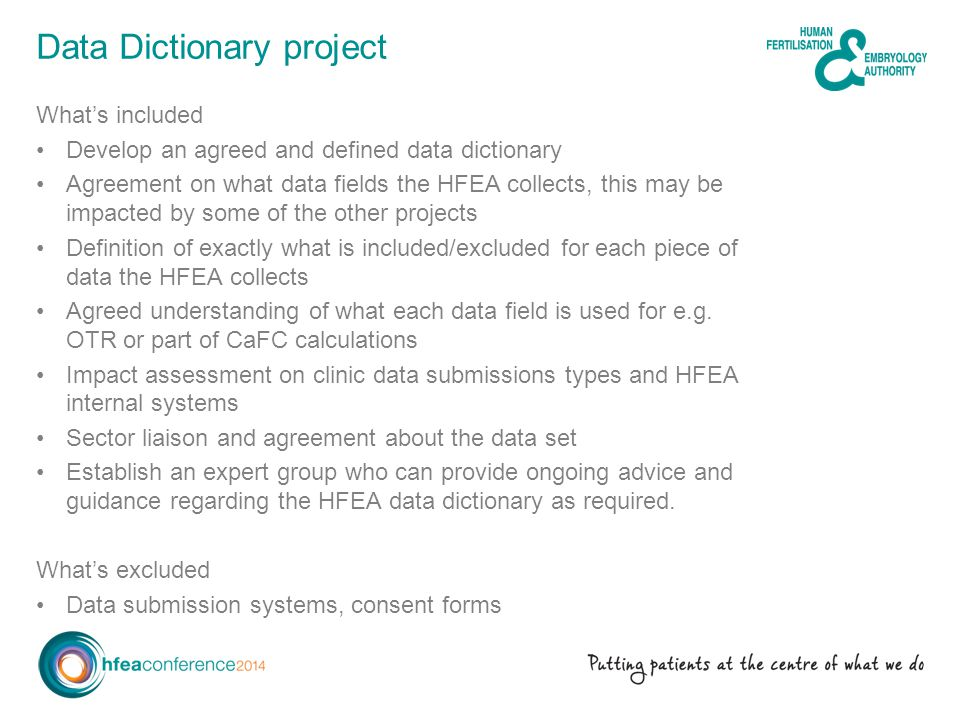 Data Dictionary project Whats included Develop an agreed and defined data dictionary Agreement on what data fields the HFEA collects, this may be impa
