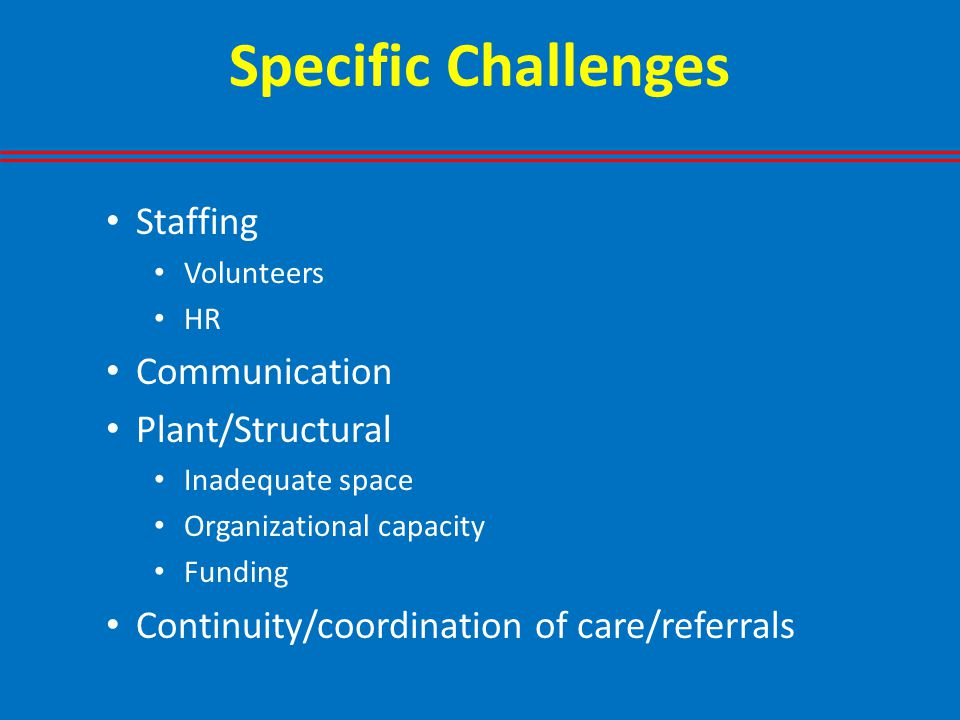 Specific Challenges Staffing Volunteers HR Communication Plant/Structural Inadequate space Organizational capacity Funding Continuity/coordination of care/referrals