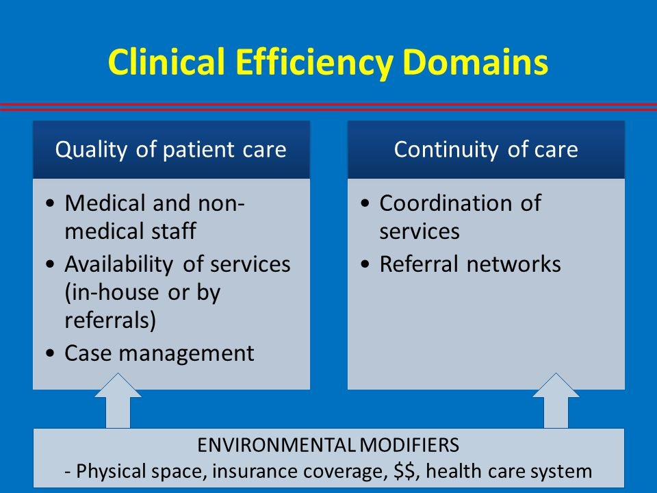 Clinical Efficiency Domains Quality of patient care Medical and non- medical staff Availability of services (in-house or by referrals) Case management Continuity of care Coordination of services Referral networks ENVIRONMENTAL MODIFIERS - Physical space, insurance coverage, $$, health care system