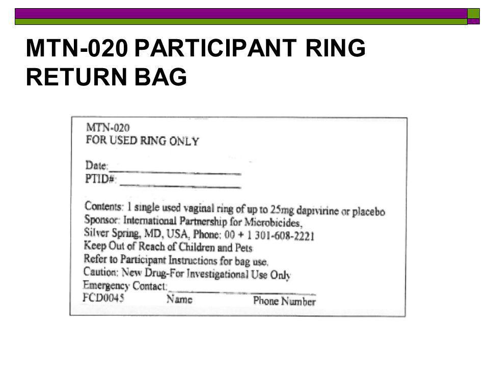 MTN-020 PARTICIPANT RING RETURN BAG