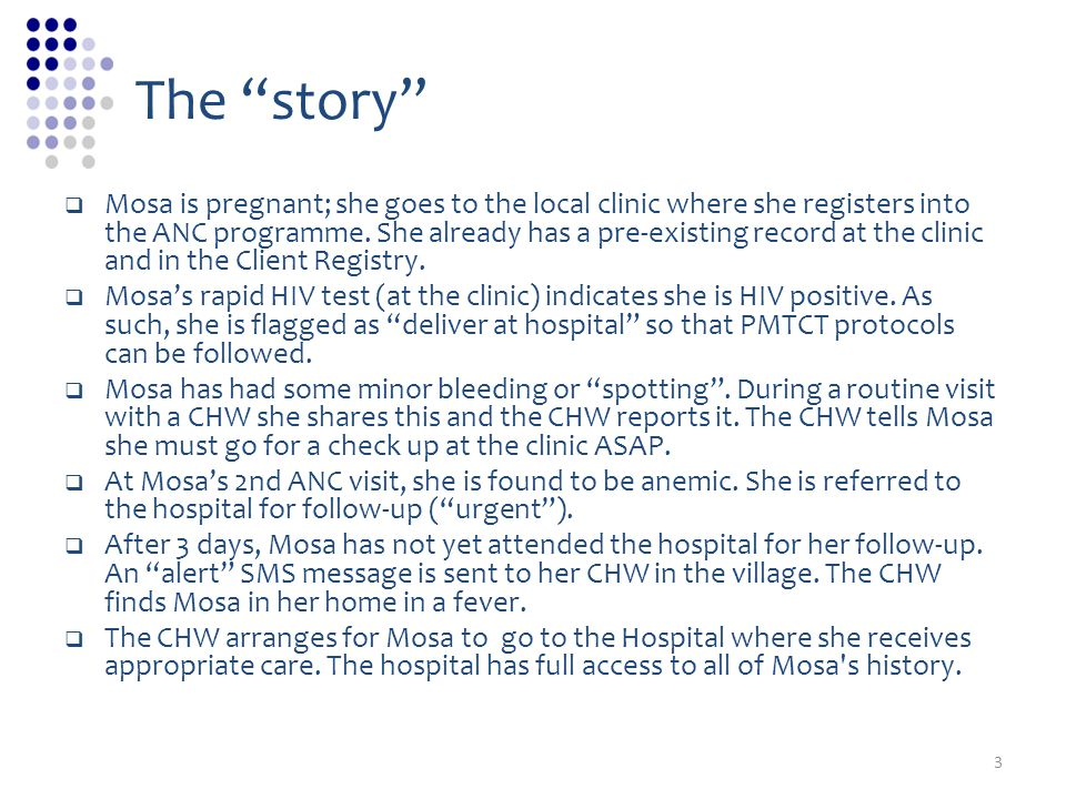 The story Mosa is pregnant; she goes to the local clinic where she registers into the ANC programme.