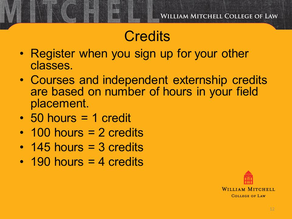 Credits Register when you sign up for your other classes. Courses and independent externship credits are based on number of hours in your field placem