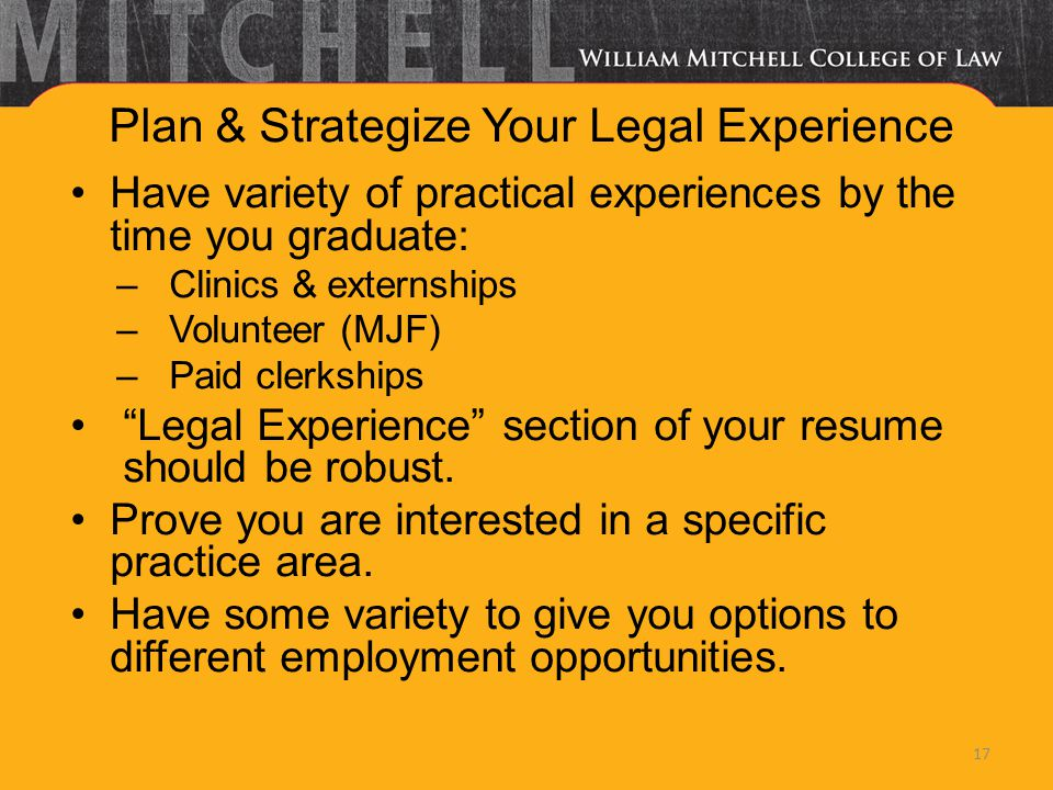Plan & Strategize Your Legal Experience Have variety of practical experiences by the time you graduate: –Clinics & externships –Volunteer (MJF) –Paid