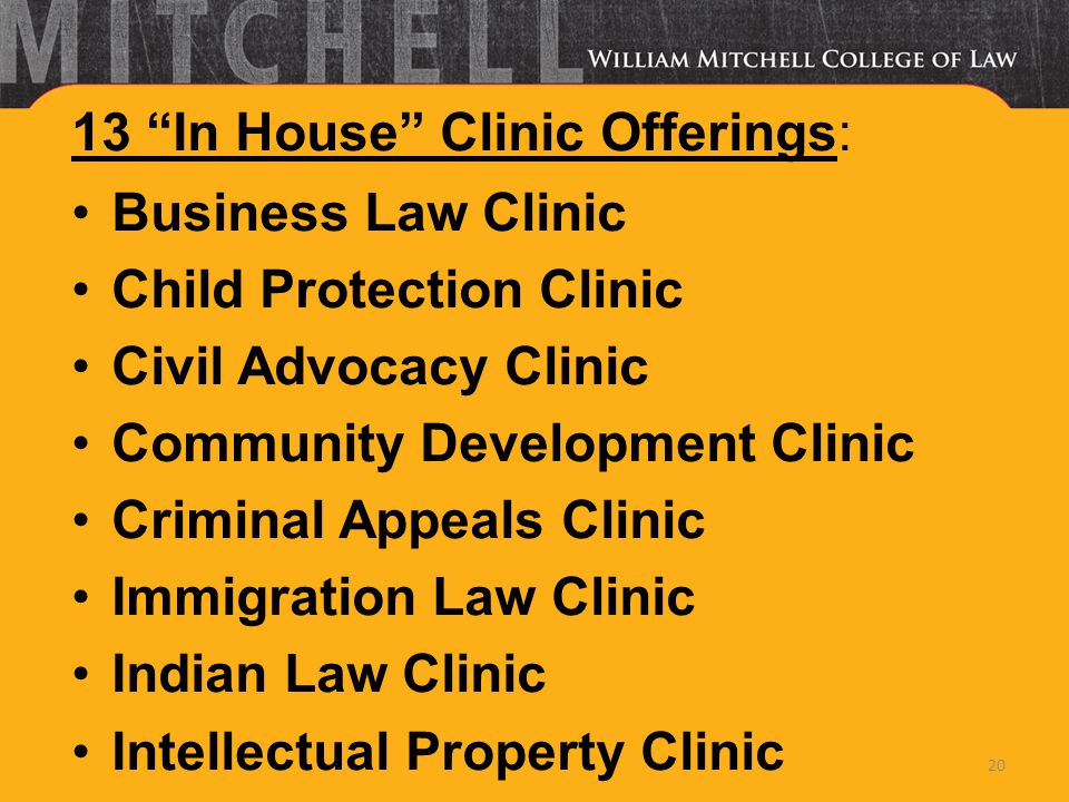 13 In House Clinic Offerings: Business Law Clinic Child Protection Clinic Civil Advocacy Clinic Community Development Clinic Criminal Appeals Clinic I