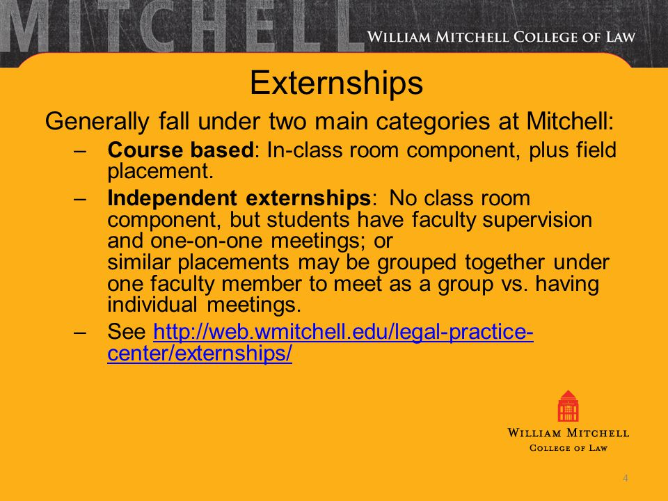 Externships Generally fall under two main categories at Mitchell: –Course based: In-class room component, plus field placement. –Independent externshi