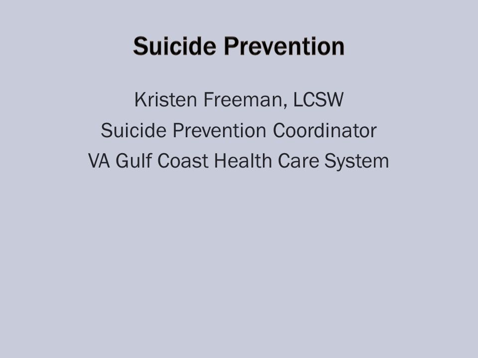 Kristen Freeman, LCSW Suicide Prevention Coordinator VA Gulf Coast Health Care System