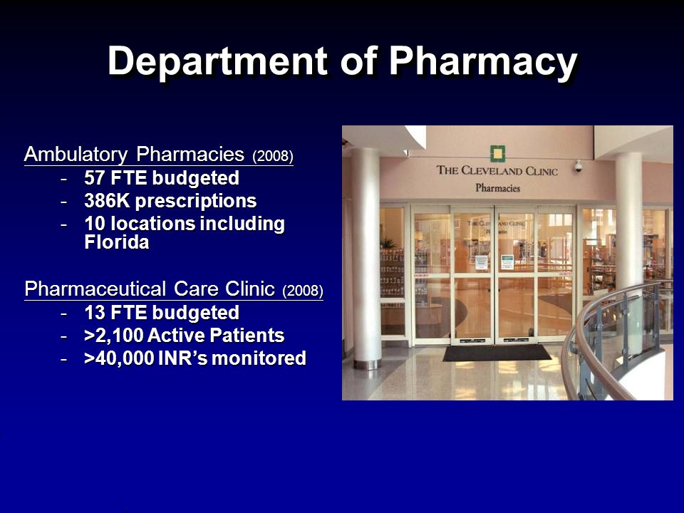 Department of Pharmacy Ambulatory Pharmacies (2008) -57 FTE budgeted -386K prescriptions -10 locations including Florida Pharmaceutical Care Clinic (2