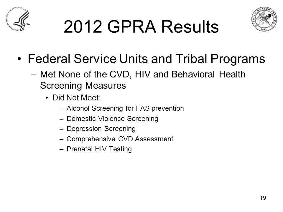 2012 GPRA Results Federal Service Units and Tribal Programs –Met None of the CVD, HIV and Behavioral Health Screening Measures Did Not Meet: –Alcohol