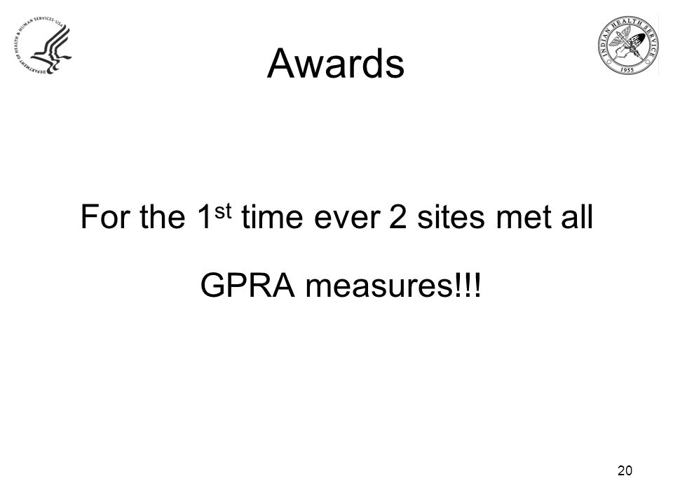 Awards For the 1 st time ever 2 sites met all GPRA measures!!! 20