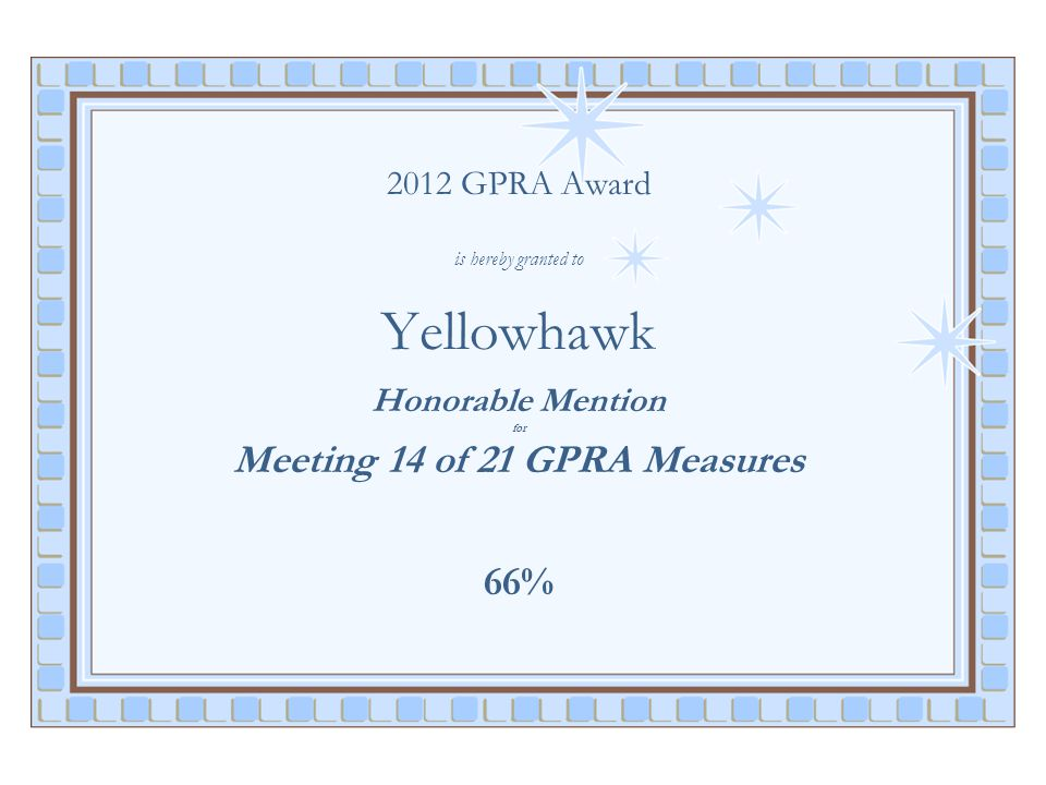 2012 GPRA Award is hereby granted to Yellowhawk Honorable Mention for Meeting 14 of 21 GPRA Measures 66%