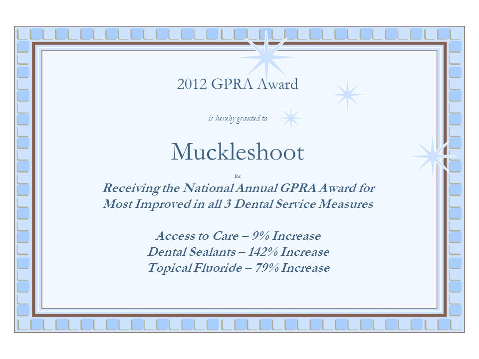 2012 GPRA Award is hereby granted to Muckleshoot for Receiving the National Annual GPRA Award for Most Improved in all 3 Dental Service Measures Acces