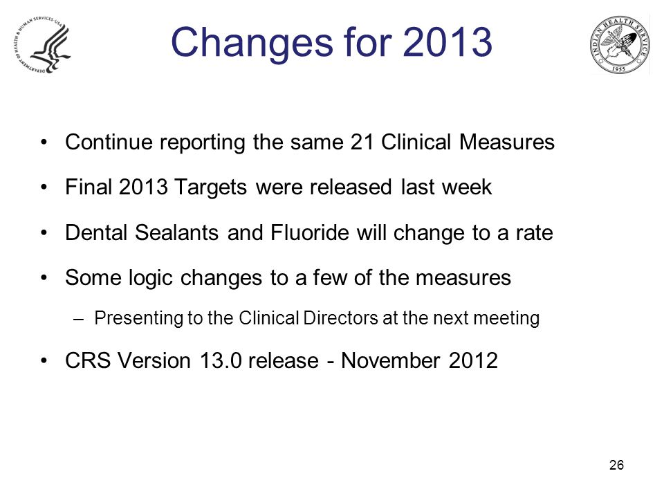Changes for 2013 Continue reporting the same 21 Clinical Measures Final 2013 Targets were released last week Dental Sealants and Fluoride will change