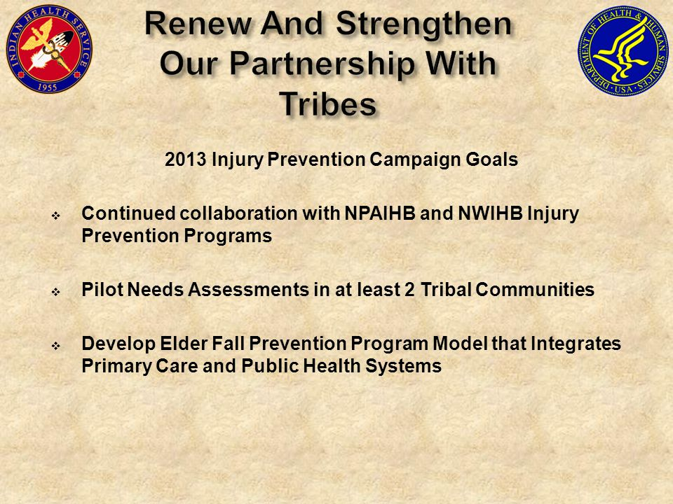 2013 Injury Prevention Campaign Goals Continued collaboration with NPAIHB and NWIHB Injury Prevention Programs Pilot Needs Assessments in at least 2 T