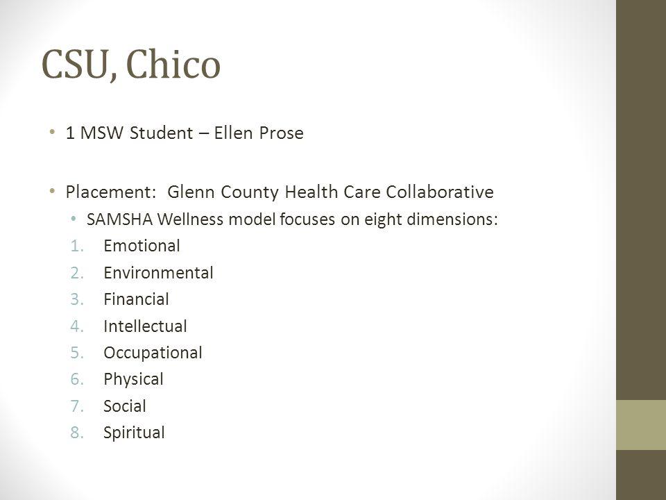 CSU, Chico 1 MSW Student – Ellen Prose Placement: Glenn County Health Care Collaborative SAMSHA Wellness model focuses on eight dimensions: 1.Emotiona