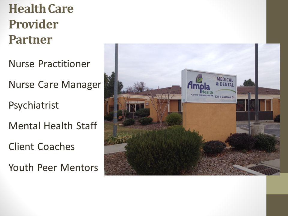 Health Care Provider Partner Nurse Practitioner Nurse Care Manager Psychiatrist Mental Health Staff Client Coaches Youth Peer Mentors