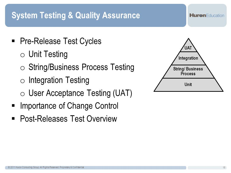 System Testing & Quality Assurance 18 Pre-Release Test Cycles o Unit Testing o String/Business Process Testing o Integration Testing o User Acceptance Testing (UAT) Importance of Change Control Post-Releases Test Overview © 2011 Huron Consulting Group.