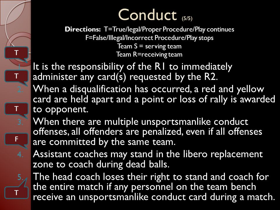 Conduct (5/5) 1.