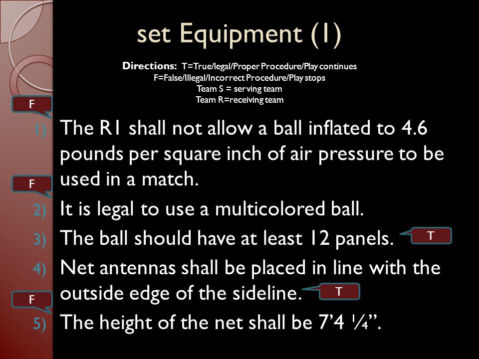 The Team: Composition and Positions (3/4) 1) Illegal alignment occurs when, at the moment of serve the RF and CB are touching the court equal distant from the center line.