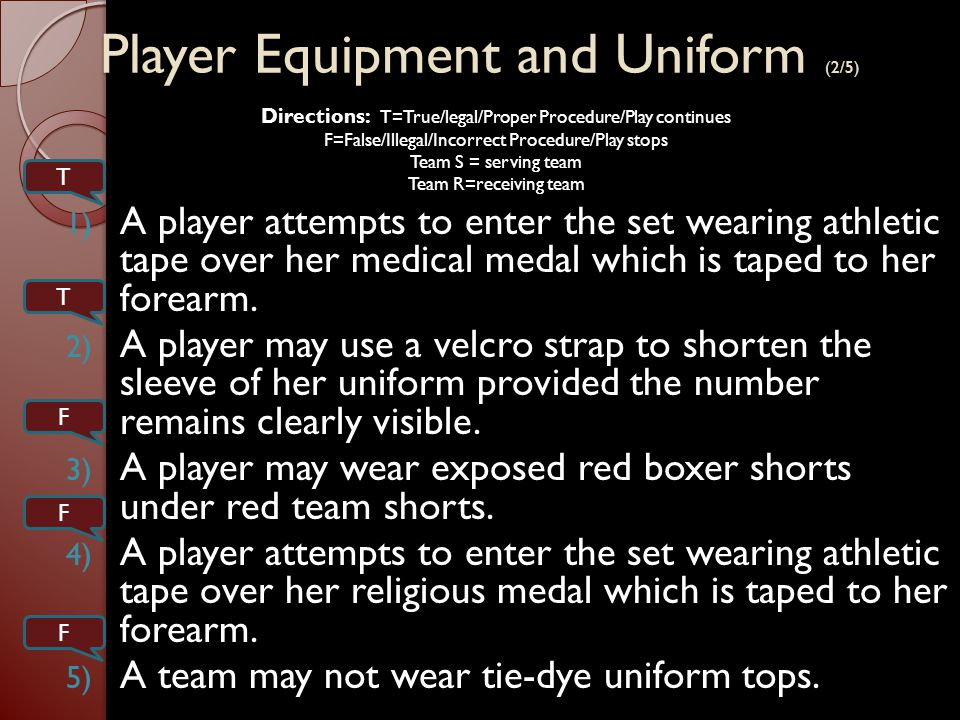 Player Equipment and Uniform (3/5) 1) A player may wear a cast on the forearm if it is made of soft pliable plastic.