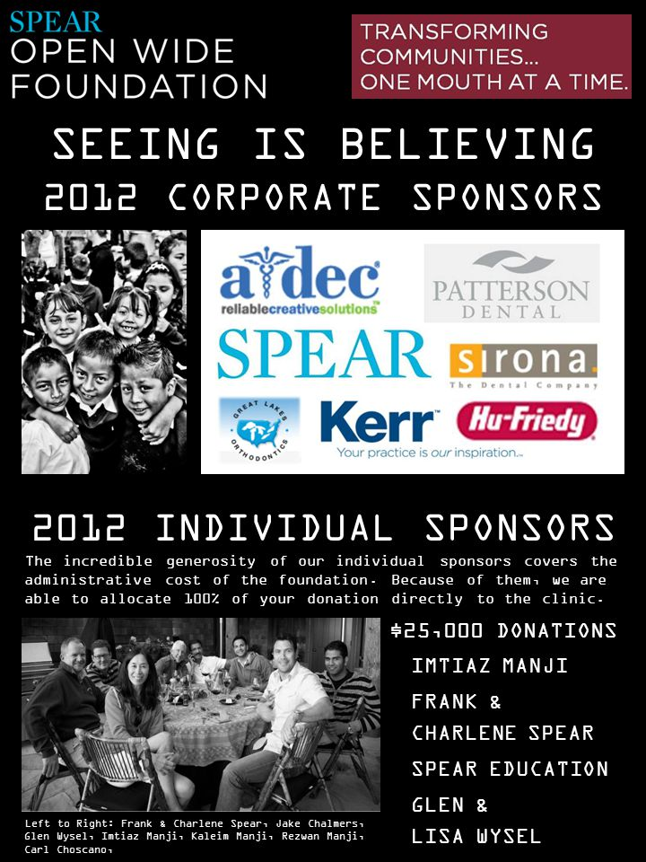 SEEING IS BELIEVING 2012 CORPORATE SPONSORS 2012 INDIVIDUAL SPONSORS IMTIAZ MANJI FRANK & CHARLENE SPEAR SPEAR EDUCATION GLEN & LISA WYSEL The incredi