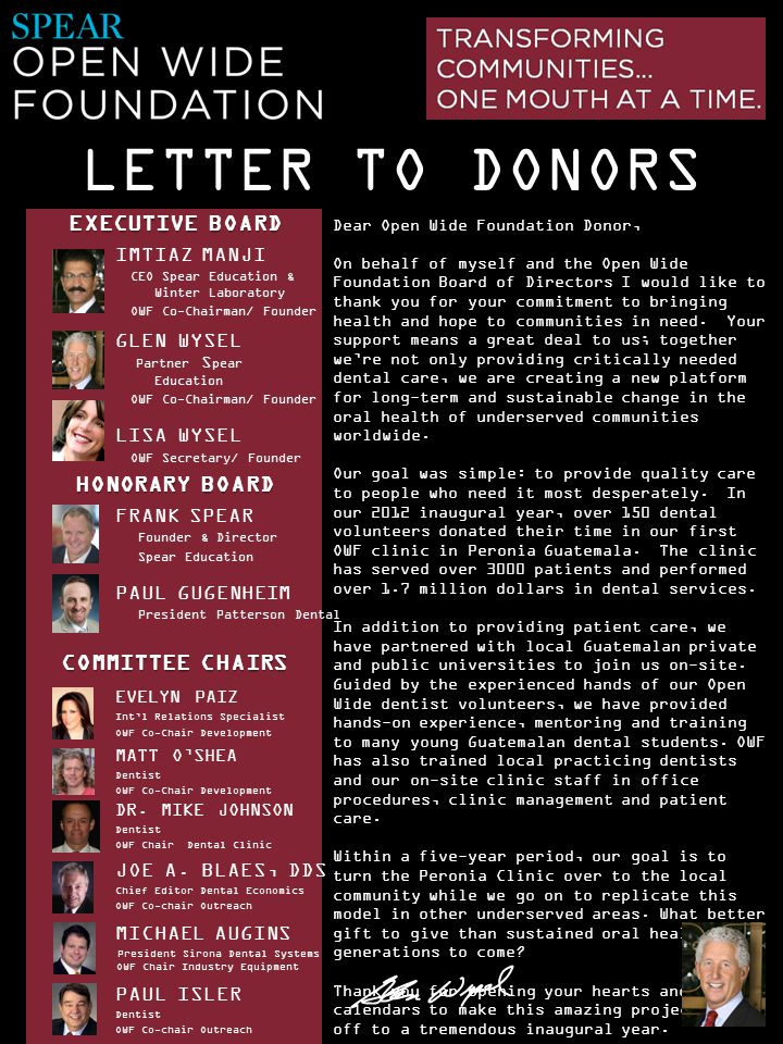 LETTER TO DONORS IMTIAZ MANJI CEO Spear Education & Winter Laboratory OWF Co-Chairman/ Founder GLEN WYSEL Partner S pear Education OWF Co-Chairman/ Fo