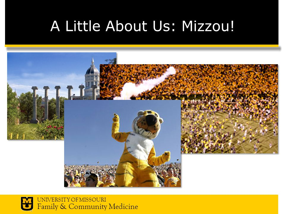 UNIVERSITY OF MISSOURI Family & Community Medicine A Little About Us: Mizzou!