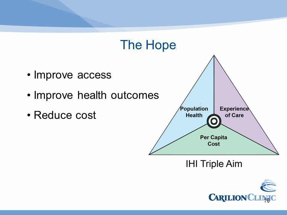 The Hope 16 Improve access Improve health outcomes Reduce cost