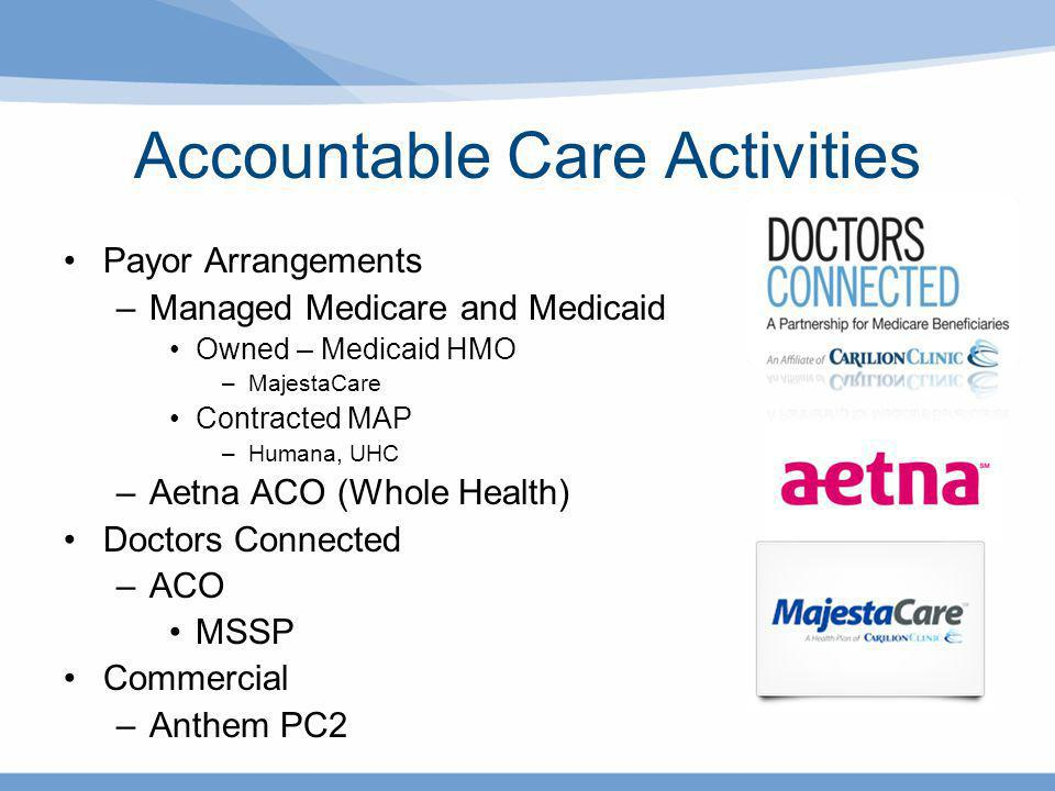 Accountable Care Activities Payor Arrangements –Managed Medicare and Medicaid Owned – Medicaid HMO –MajestaCare Contracted MAP –Humana, UHC –Aetna ACO