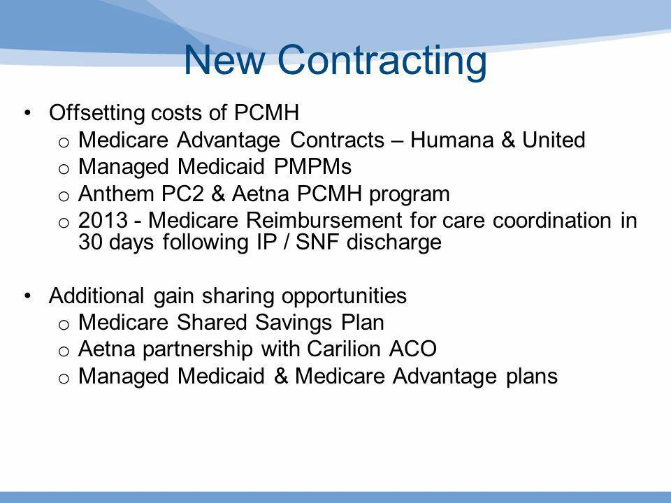 New Contracting Offsetting costs of PCMH o Medicare Advantage Contracts – Humana & United o Managed Medicaid PMPMs o Anthem PC2 & Aetna PCMH program o