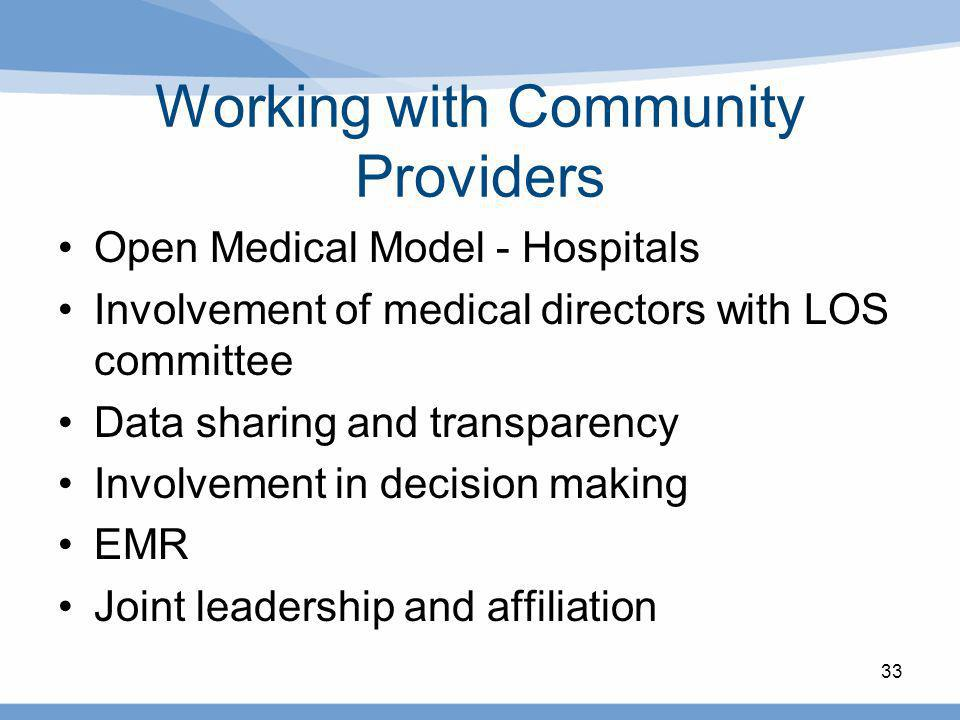 Working with Community Providers Open Medical Model - Hospitals Involvement of medical directors with LOS committee Data sharing and transparency Invo