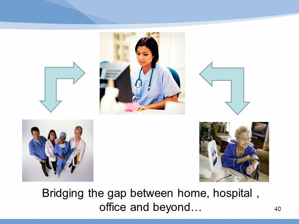 40 Bridging the gap between home, hospital, office and beyond…