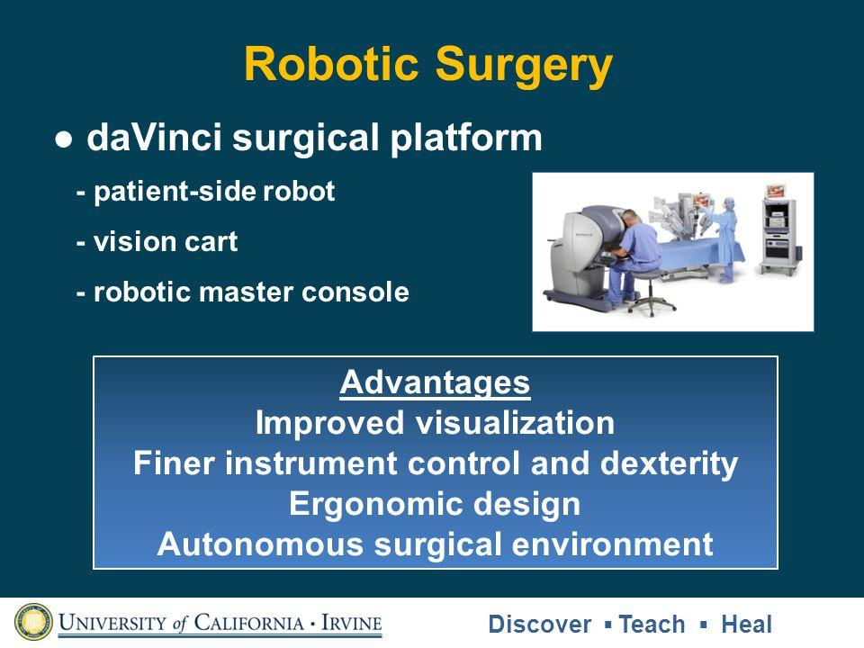 Robotic Surgery daVinci surgical platform - patient-side robot - vision cart - robotic master console Advantages Improved visualization Finer instrume