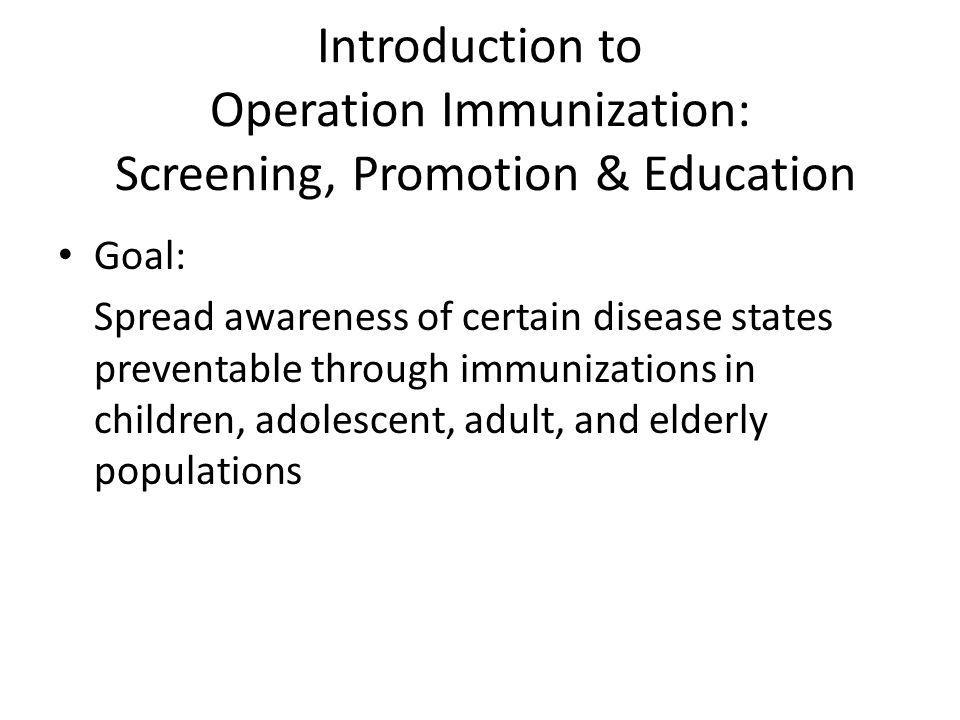 Introduction to Operation Immunization: Screening, Promotion & Education Binational Health Week Events Youth Emergency Services (YES) Clinic Holy Family Church Clinic Joy of Life Ministries Mexican Consulate