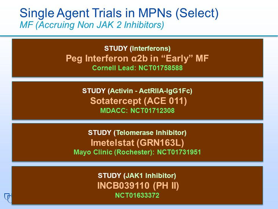 STUDY (Interferons) Peg Interferon α2b in Early MF Cornell Lead: NCT01758588 STUDY (Interferons) Peg Interferon α2b in Early MF Cornell Lead: NCT01758588 Single Agent Trials in MPNs (Select) MF (Accruing Non JAK 2 Inhibitors) STUDY (Activin - ActRIIA-IgG1Fc) Sotatercept (ACE 011) MDACC: NCT01712308 STUDY (Activin - ActRIIA-IgG1Fc) Sotatercept (ACE 011) MDACC: NCT01712308 STUDY (Telomerase Inhibitor) Imetelstat (GRN163L) Mayo Clinic (Rochester): NCT01731951 STUDY (Telomerase Inhibitor) Imetelstat (GRN163L) Mayo Clinic (Rochester): NCT01731951 STUDY (JAK1 Inhibitor) INCB039110 (PH II) NCT01633372 STUDY (JAK1 Inhibitor) INCB039110 (PH II) NCT01633372