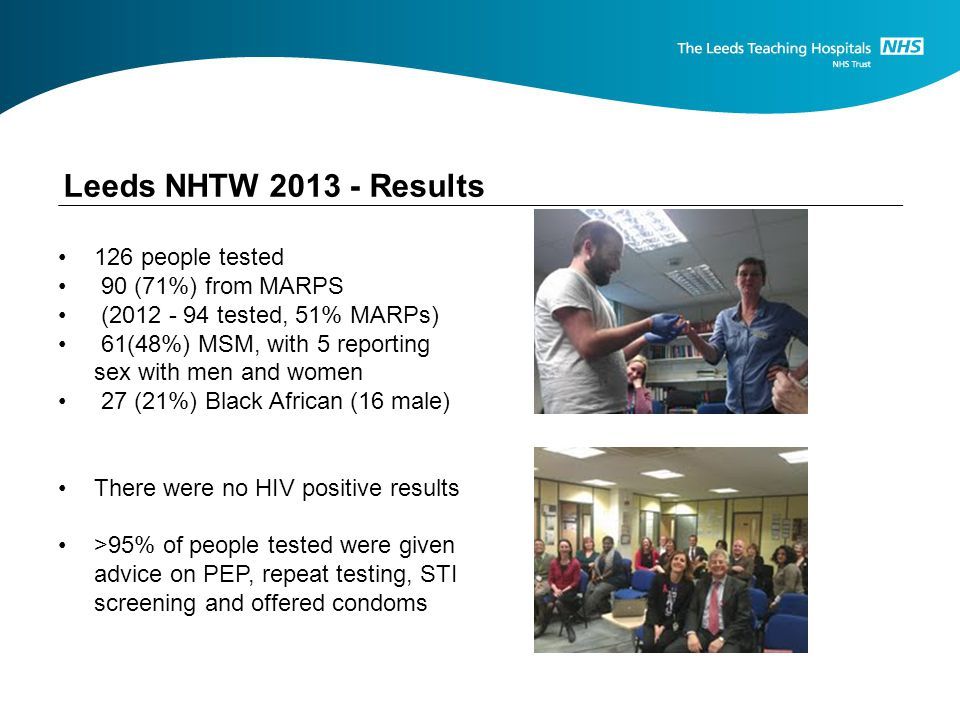Leeds NHTW 2013 - Results 126 people tested 90 (71%) from MARPS (2012 - 94 tested, 51% MARPs) 61(48%) MSM, with 5 reporting sex with men and women 27