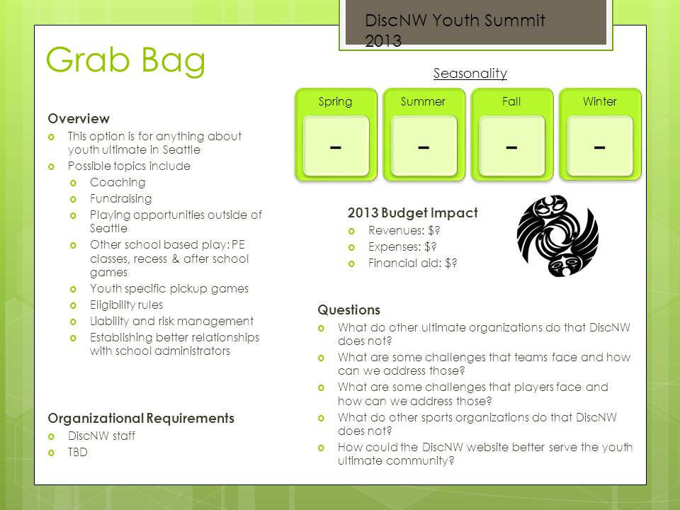 Grab Bag Overview This option is for anything about youth ultimate in Seattle Possible topics include Coaching Fundraising Playing opportunities outsi