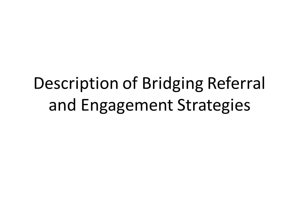 Description of Bridging Referral and Engagement Strategies