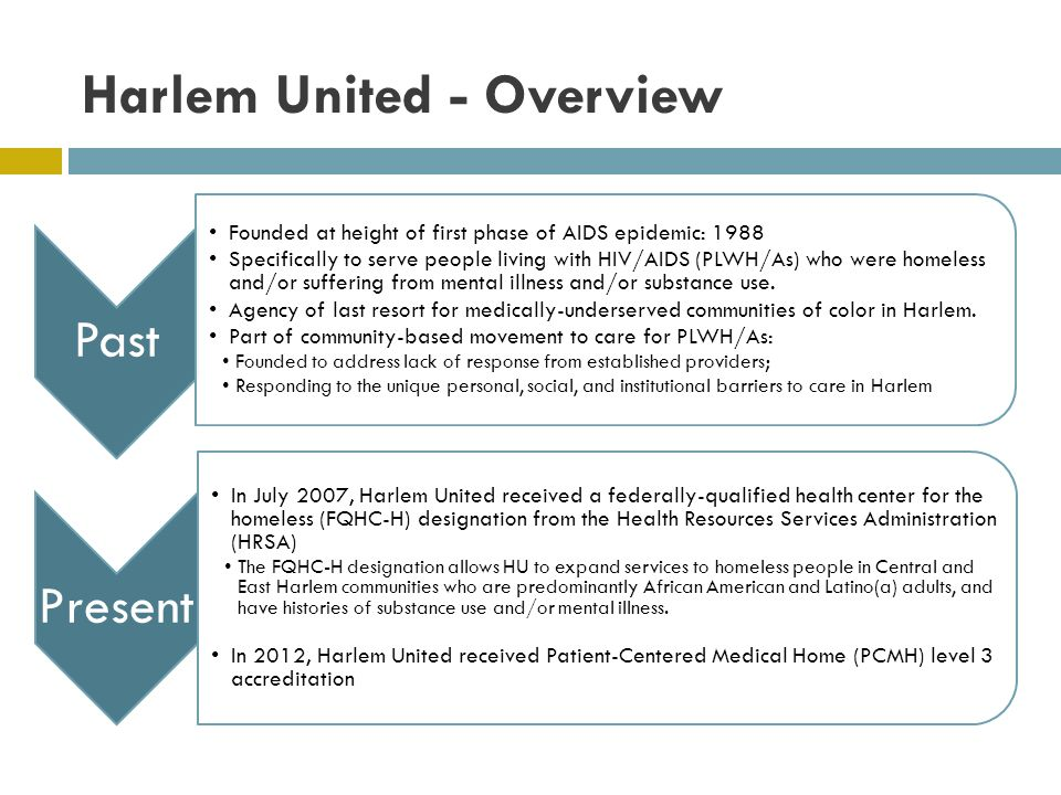 Harlem United - Overview Past Founded at height of first phase of AIDS epidemic: 1988 Specifically to serve people living with HIV/AIDS (PLWH/As) who