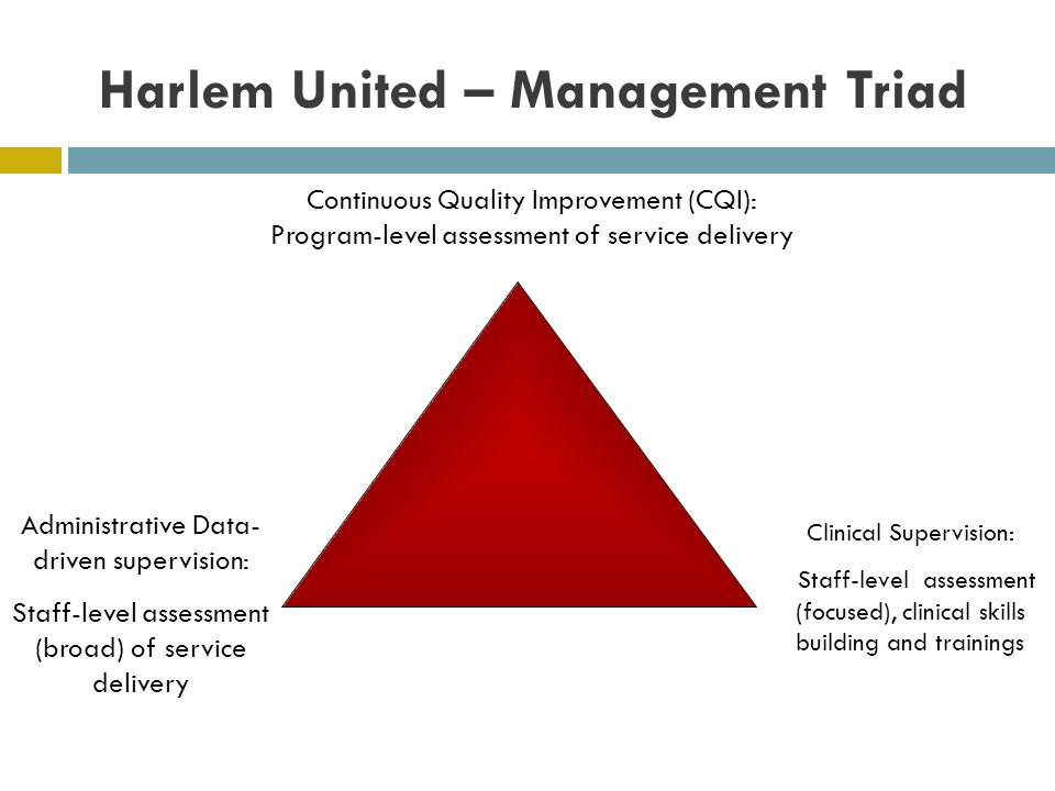 Harlem United – Management Triad Continuous Quality Improvement (CQI): Program-level assessment of service delivery Clinical Supervision: Staff-level assessment (focused), clinical skills building and trainings Administrative Data- driven supervision: Staff-level assessment (broad) of service delivery