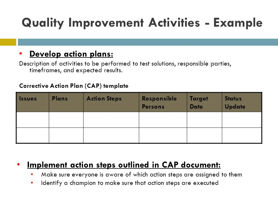 Quality Improvement Activities - Example IssuesPlansAction StepsResponsible Persons Target Date Status Update Develop action plans: Description of activities to be performed to test solutions, responsible parties, timeframes, and expected results.