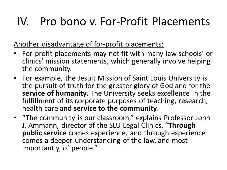 IV.Pro bono v.