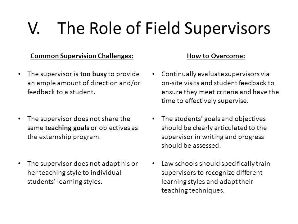 V.The Role of Field Supervisors Common Supervision Challenges: The supervisor is too busy to provide an ample amount of direction and/or feedback to a student.