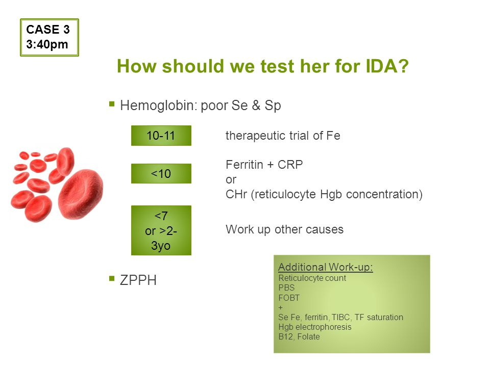 How should we test her for IDA.