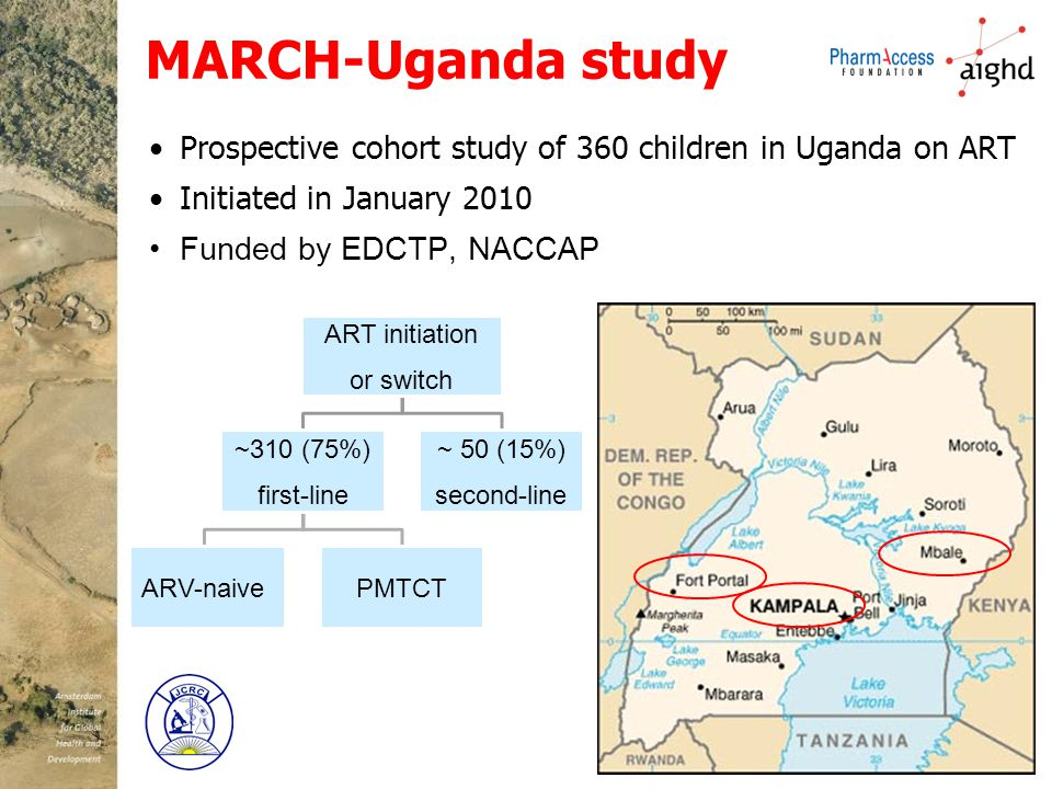 MARCH-Uganda study Prospective cohort study of 360 children in Uganda on ART Initiated in January 2010 Funded by EDCTP, NACCAP
