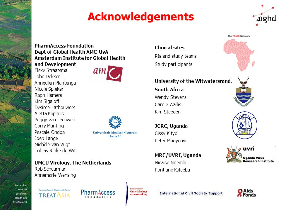 Acknowledgements PharmAccess Foundation Dept of Global Health AMC-UvA Amsterdam Institute for Global Health and Development Elske Straatsma John Dekke