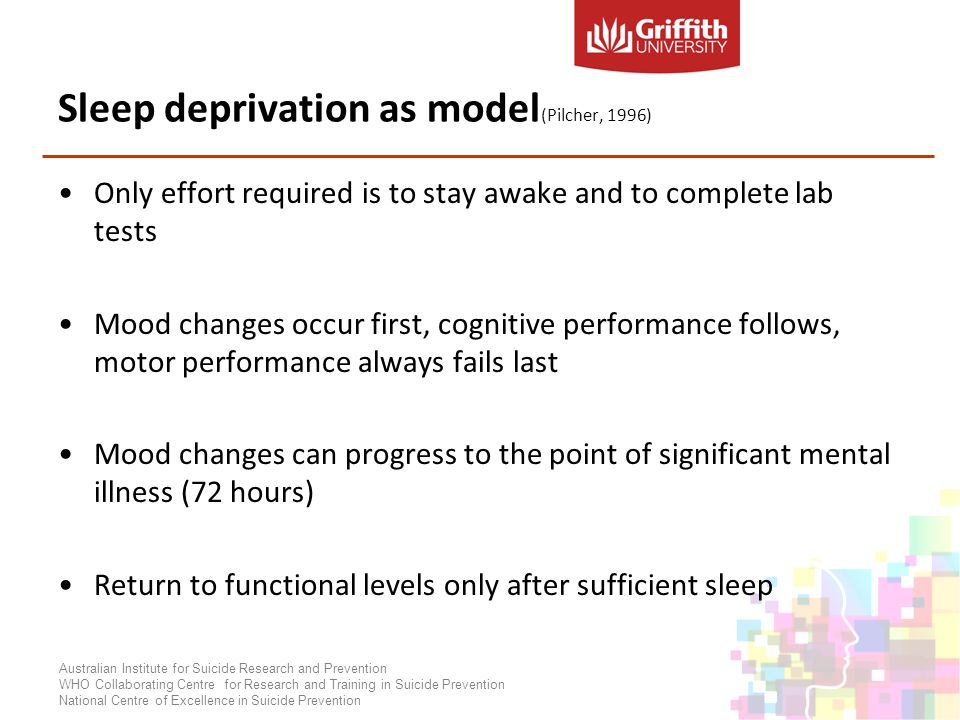 Sleep deprivation as model (Pilcher, 1996) Only effort required is to stay awake and to complete lab tests Mood changes occur first, cognitive performance follows, motor performance always fails last Mood changes can progress to the point of significant mental illness (72 hours) Return to functional levels only after sufficient sleep Australian Institute for Suicide Research and Prevention WHO Collaborating Centre for Research and Training in Suicide Prevention National Centre of Excellence in Suicide Prevention