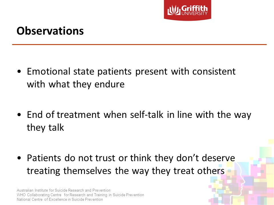 Observations Emotional state patients present with consistent with what they endure End of treatment when self-talk in line with the way they talk Patients do not trust or think they dont deserve treating themselves the way they treat others Australian Institute for Suicide Research and Prevention WHO Collaborating Centre for Research and Training in Suicide Prevention National Centre of Excellence in Suicide Prevention