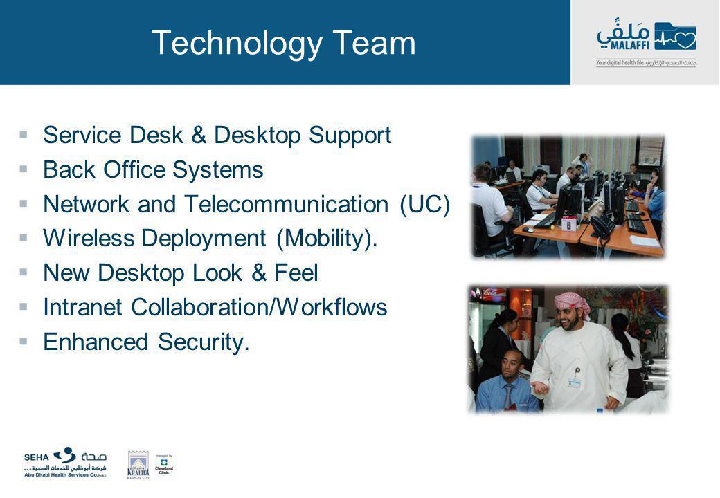 Technology Team Service Desk & Desktop Support Back Office Systems Network and Telecommunication (UC) Wireless Deployment (Mobility). New Desktop Look