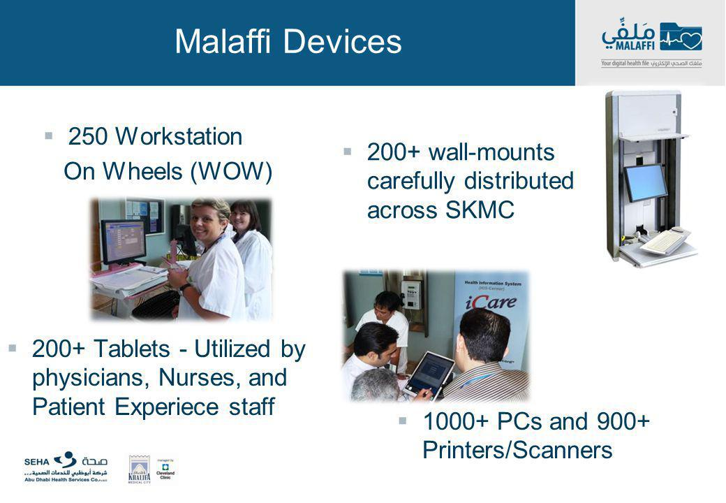 Malaffi Devices 250 Workstation On Wheels (WOW) 200+ Tablets - Utilized by physicians, Nurses, and Patient Experiece staff 200+ wall-mounts carefully